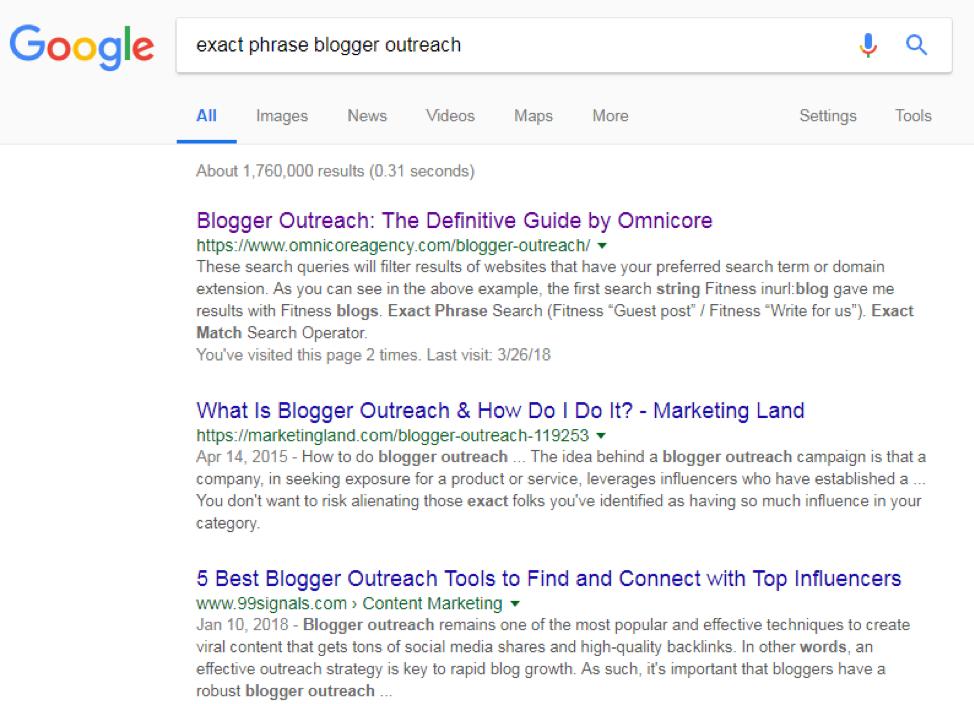 blogger outreach exact phrase match