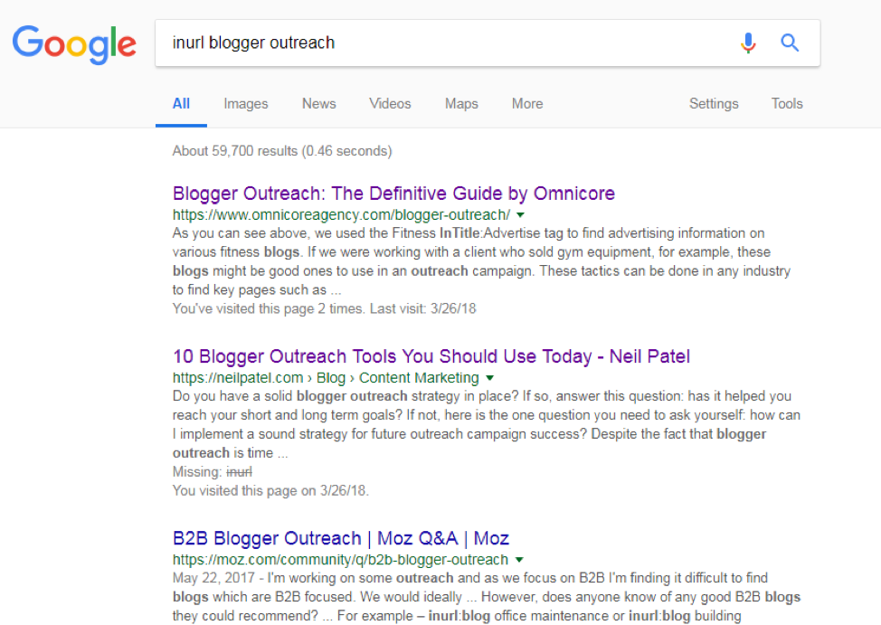 blogger outreach inurl search